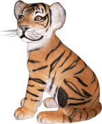 Tiger Bengal Cub Sitting Animal Prop Life Size Decor Resin Statue - LM Treasures Life Size Statues & Prop Rental