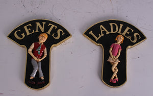 Restroom Sign Ladies and Gents - LM Treasures Life Size Statues & Prop Rental