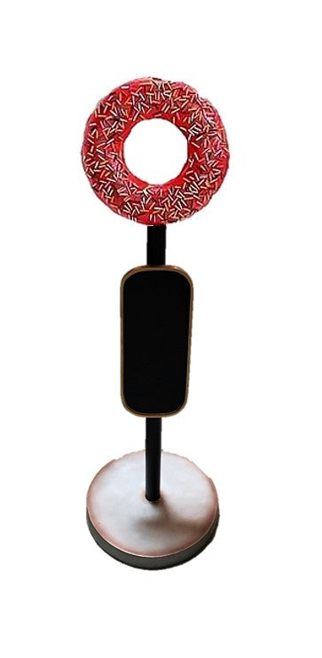 Red Donut Menu Board Over Sized Statue - LM Treasures