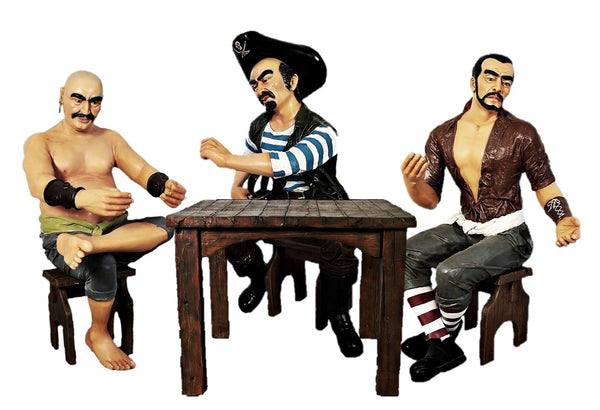 Sitting Pirate Set Life Size Statue - LM Treasures Life Size Statues & Prop Rental