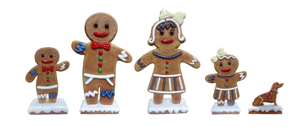Large Gingerbread Family Set of 5 Over Sized Statue - LM Treasures Life Size Statues & Prop Rental