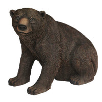 Brown Grizzly Bear Sitting Life Size Statue - LM Treasures
