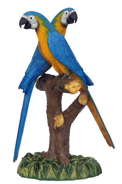 Blue Gold Macaw Lover Parrot On Branch Life Size Statue - LM Treasures Life Size Statues & Prop Rental