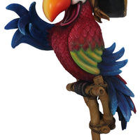 Comic Pirate Parrot With Stand Over Sized Statue - LM Treasures Life Size Statues & Prop Rental
