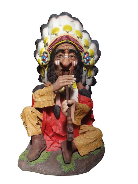Smoking Indian Chief Life Size Statue - LM Treasures