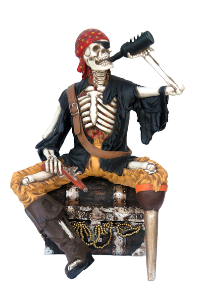 Skeleton Pirate on Treasure Drinking Life Size Statue - LM Treasures Life Size Statues & Prop Rental