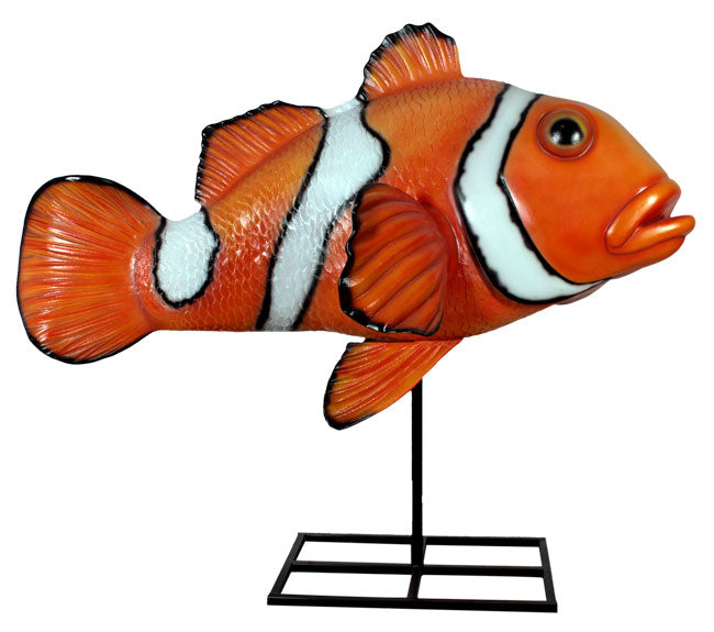 Fish Clown On Metal Stand Sea Prop Resin Decor Statue - LM Treasures Life Size Statues & Prop Rental