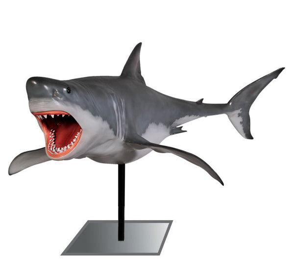 Great White Shark On Base Life Size Statue - LM Treasures Life Size Statues & Prop Rental