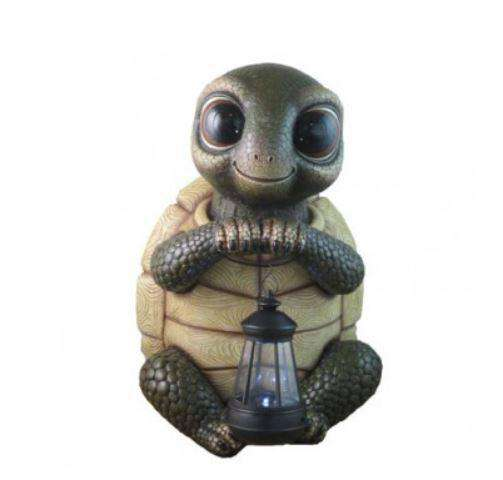 Comic Turtle Holding Lantern Prop Decor Statue - LM Treasures