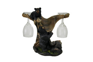 Black Bear Wine Holder Statue - LM Treasures