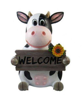 Comic Cow Holding Sign Garden Prop Decor Statue- LM Treasures