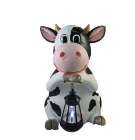 Comic Cow Holding Lantern Prop Decor Statue - LM Treasures