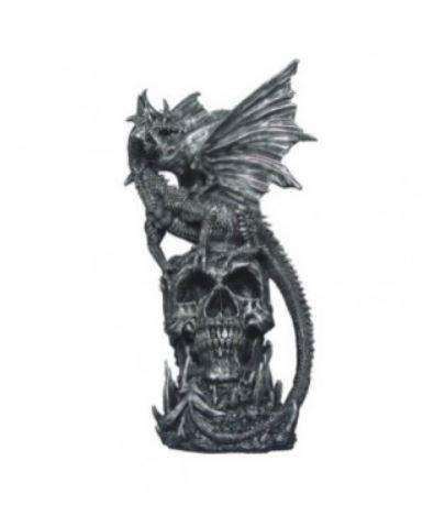 Dragon On Skull Table Top Statue - LM Treasures Life Size Statues & Prop Rental