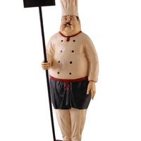 Pizza Chef With Menu Board Over Sized Statue - LM Treasures