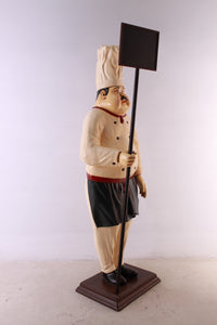 Pizza Chef With Menu Board Over Sized Statue - LM Treasures Life Size Statues & Prop Rental