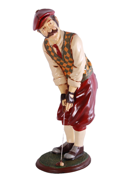 Golfer Aiming Small Statue - LM Treasures Life Size Statues & Prop Rental