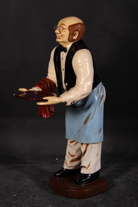 Butler Old Man Prop Restaurant Decor Resin Statue