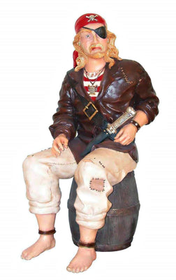 Pirate Captain Sitting on Barrel Statue Life Size - LM Treasures Life Size Statues & Prop Rental