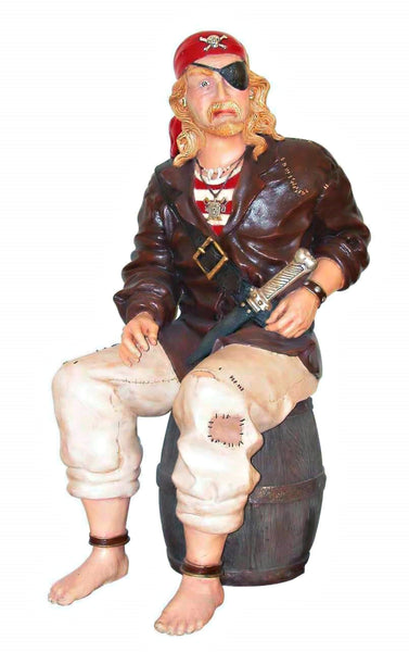 Pirate On Barrel Life Size Statue - LM Treasures Life Size Statues & Prop Rental