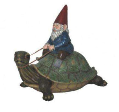Turtle With Gnome Garden Prop Resin Decor Statue- LM Treasures