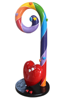 Small Rainbow Swirl Candy Cane With Heart Over Sized Statue - LM Treasures Life Size Statues & Prop Rental