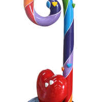 Candy Cane Swirl 4.5 ft Rainbow With Heart Over Sized Resin Prop Decor Statue - LM Treasures Life Size Statues & Prop Rental