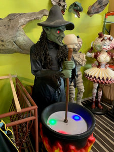 Rare Mechanical Witch W/ Light Up Pot Life Size Statue - LM Treasures