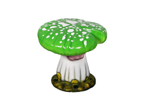 Green Single Split Mushroom Stool Over Sized Statue - LM Treasures