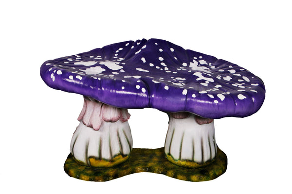 Purple Double Mushroom Stool Over Sized Statue - LM Treasures