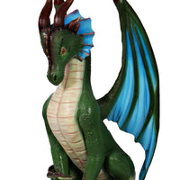 Small Green Dragon Sitting Life Size Statue - LM Treasures