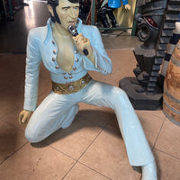 "Celebrity Elvis In White Kneeling Life Size Movie Hollywood Prop Decor Statue ""AS IS"" - LM Treasures Life Size Statues & Prop Rental"