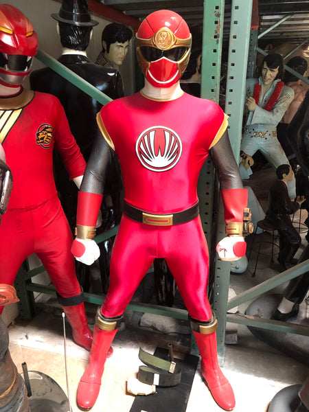 Rare Red Ranger Power Ranger Life Size Statue - LM Treasures Life Size Statues & Prop Rental