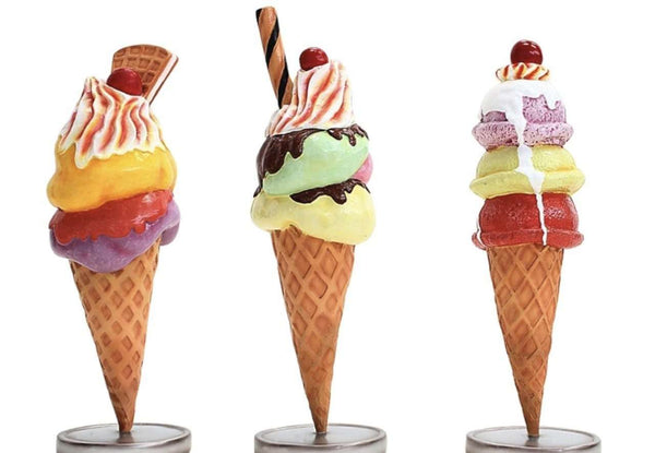 Ice Cream Set of 3 Over Sized Statue - LM Treasures Life Size Statues & Prop Rental
