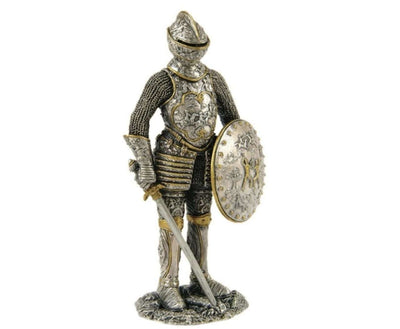 Medieval Knight in Armor Shield Sword Standing Life Size Statue - LM Treasures Life Size Statues & Prop Rental