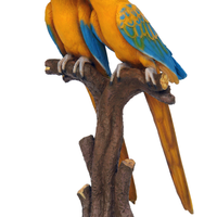 Mutation Yellow Blue Macaw Lover Parrots On Branch Life Size Statue - LM Treasures