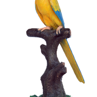 Mutation Macaw Yellow Blue Parrot On Branch Life Size Statue - LM Treasures