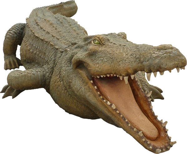 Large Crocodile Mouth Open Life Size Statue - LM Treasures