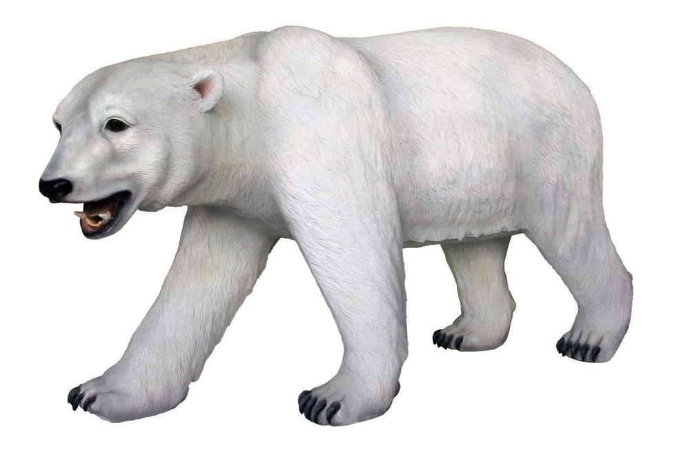 Polar Bear Walking Mouth Open Life Size Statue - LM Treasures Life Size Statues & Prop Rental