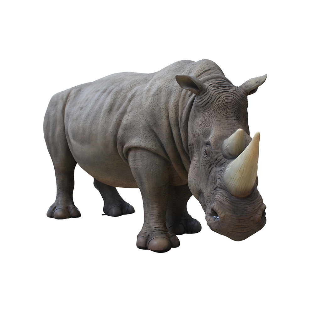 Realistic Rhinoceros Life Size Statue - LM Treasures