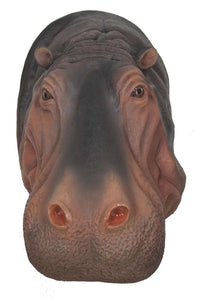 Gray Hippo Head Life Size Statue - LM Treasures
