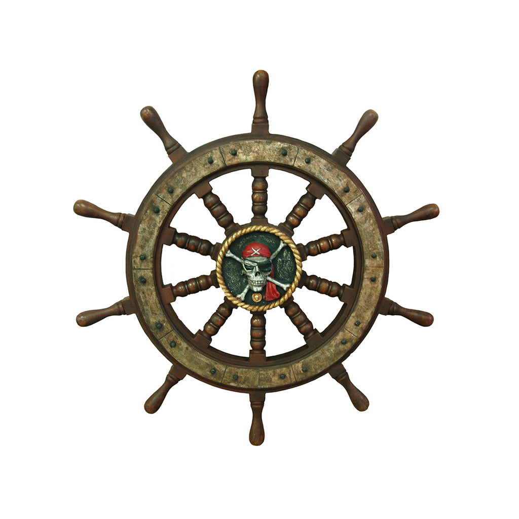 Pirate Prop Wheel Rudder With Skull Statue Resin Nautical Decor - LM Treasures Life Size Statues & Prop Rental