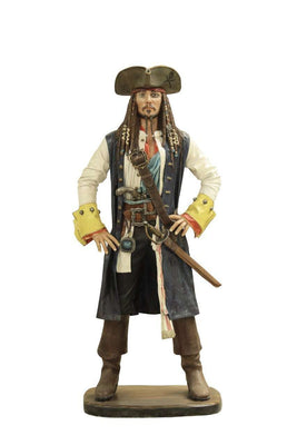 Pirate Captain Jack Sparrow Life Size Statue Resin Decor - LM Treasures Life Size Statues & Prop Rental