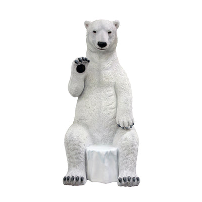 Bear Polar Sitting Waving Animal Prop Life Size Decor Resin Statue