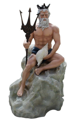 Mermaid Neptune Sitting On Rock Life Size Mythical Prop Decor Resin Statue- LM Treasures