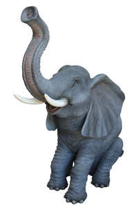 Baby Sitting Elephant Trunk Up Life Size Statue - LM Treasures Life Size Statues & Prop Rental