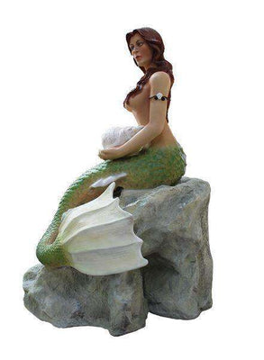 Mermaid Sitting On Rock Life Size Mythical Prop Decor Resin Statue - LM Treasures Life Size Statues & Prop Rental