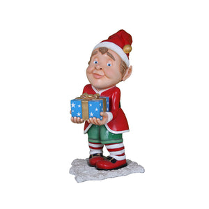 Elf Babbo And Gift - LM Treasures Life Size Statues & Prop Rental