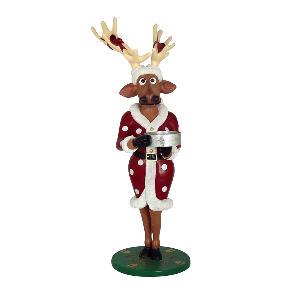 Reindeer Vixen Dressed With Gift - LM Treasures Life Size Statues & Prop Rental