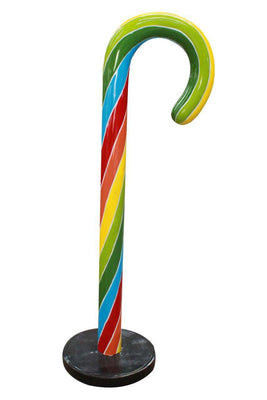 Candy Cane Traditional 4 ft Rainbow Over Sized Resin Prop Decor Statue - LM Treasures Life Size Statues & Prop Rental
