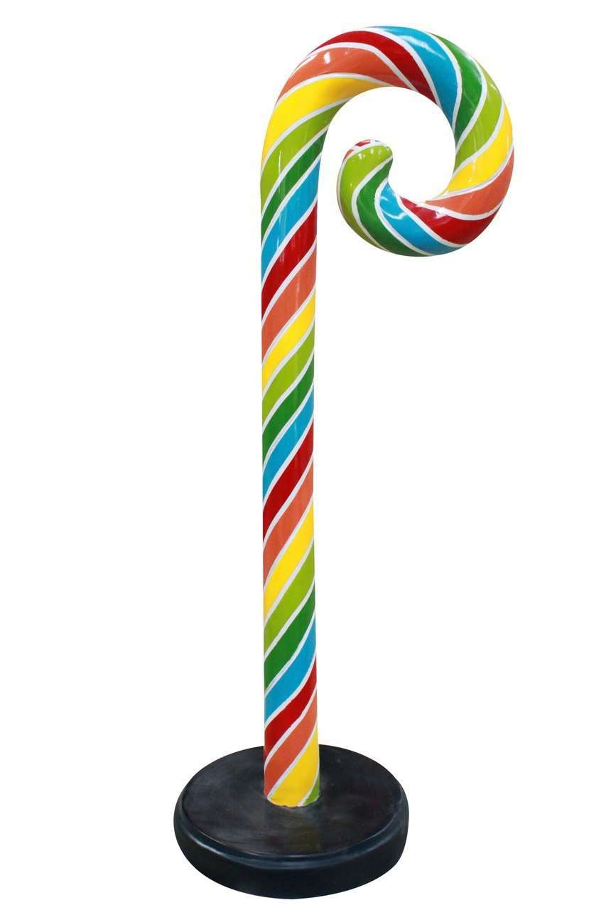 Small Rainbow Swirl Candy Cane Over Sized Statue - LM Treasures